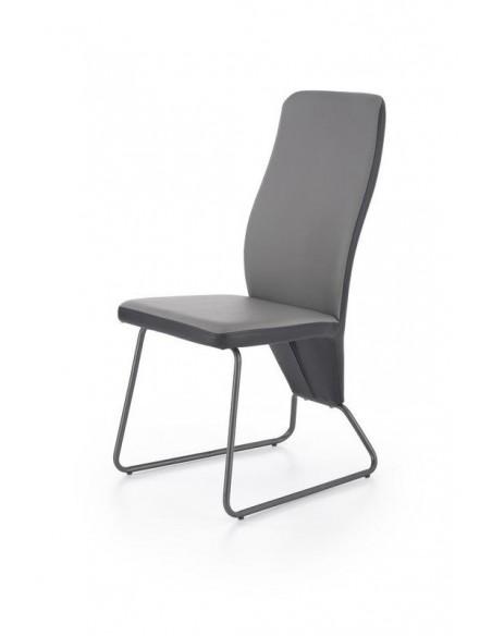 scaun-de-bucatarie-k300-otel-si-piele-ecologica-spate-negru-fa-gri-cadru-gri